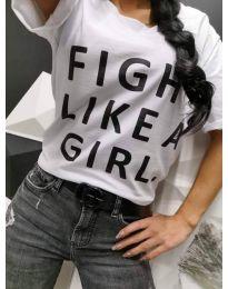 Дамска тениска в бяло с надпис - код 467