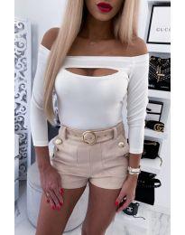 Екстравагантна дамска блуза в бяло - код 4205