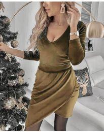 Екстравагантна рокля в кафяво - код 2129