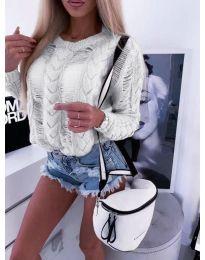 Ефектна плетена блуза в бяло - код 363