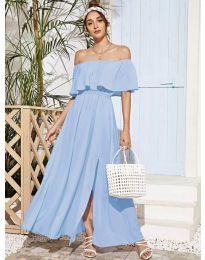 Дълга дамска рокля в светло синьо - код 698