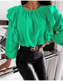 Ефектна дамска блуза в зелено - код 4445