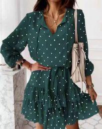 Стилна дамска рокля в зелено на точки - код 7113