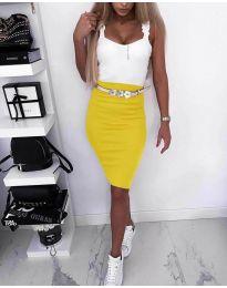 Стилна рокля в жълт цвят - код 615