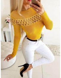 Елегантна дамска блуза в цвят горчица - код 3511