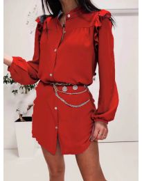 Елегантна рокля тип риза в червено - код 3433