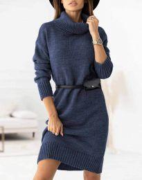 Дамска рокля  в тъмносиньо - код 0393