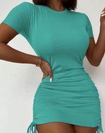 Дамска рокля в цвят тюркоаз с връзки - код 5569
