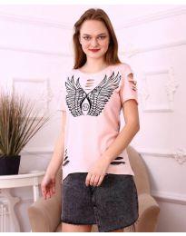 Тениска с крила в розово - код 3567