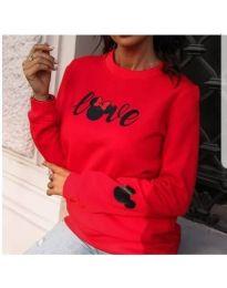 Удобна дамска блуза в червено с принт - код 434