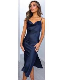 Изчистена рокля в синьо - код 7161