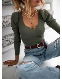 Дамска блуза в масленозелено - код 11493