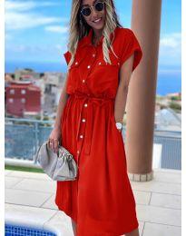 Дълга рокля с копчета в червено - код 0014