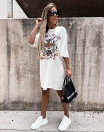 Свободна дамска рокля в бяло - код 11864