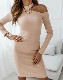 Атрактивна дамска рокля в бежово - код 4859