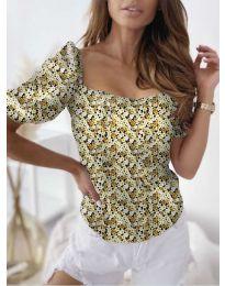 Блуза с флорален десен в жълто - код 9897