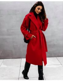 Дамско палто с колан в червено - код 410