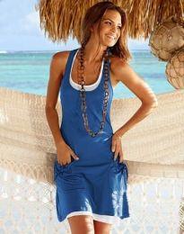 Дамска рокля в синьо с джобчета - код 9076