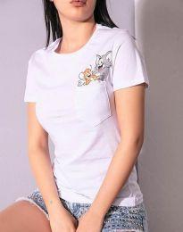 Дамска тениска в бяло с анимация - 2447