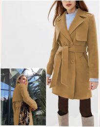 Дамско палто в кафяво  - код 3113