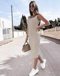 Дамска рокля по тялото в цвят шампанско - код 5964