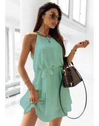 Дамска рокля с колан в цвят мента - код 9968