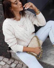 Плетен дамски пуловер в бежово - код 1620