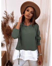 Дамска блуза в маслено зелено - код 3898