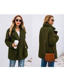 Дамско палто в маслено зелено - код 4777