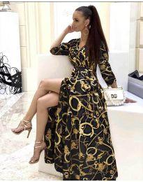 Дълга рокля с цепка в черно - код 4489 - 4