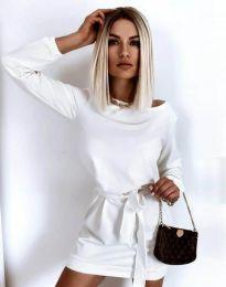 Къса дамска рокля в бяло - код 12038