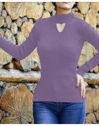 Дамска блуза с поло яка в лилаво - код 5191