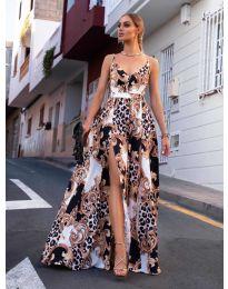 Дълга рокля с  атрактивен десен в бяло  - код 0080