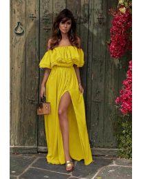 Дълга рокля с цепка в жълто - код 3336
