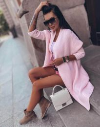 Дълга елегантна плетена дамска жилетка в розово  - код 2307