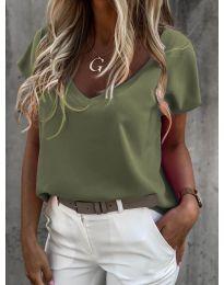 Дамска тениска в маслено зелено - код 0589