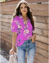 Дамска риза с флорален мотив в циклама - код 657