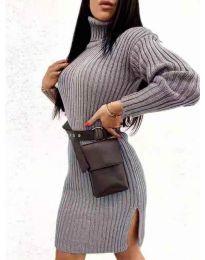 Дамска рокля с поло яка в тъмно сиво - код 6867