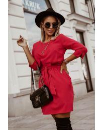 Дамска рокля в червено - код 6100