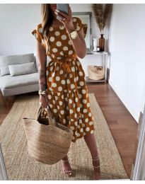 Феерична рокля в кафяво на точки - код 1415