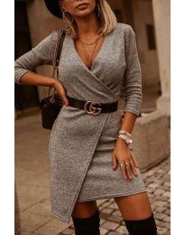 Изчистена рокля в сиво - код 9977