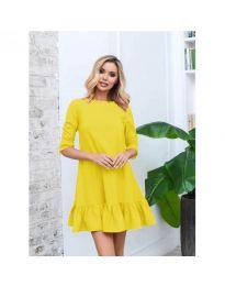 Свободна изчистена рокля в жълто - код 412