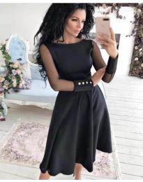 Стилна рокля с тюлен ръкав и разкроена долна част в черно - код 718