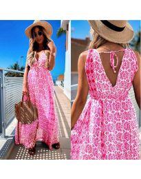 Дълга рокля с атрактивен десен в розово - код 675