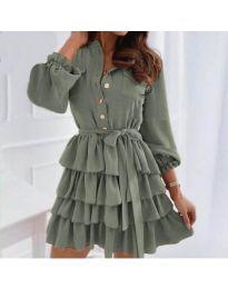 Атрактивна рокля в маслено зелено - код 7356