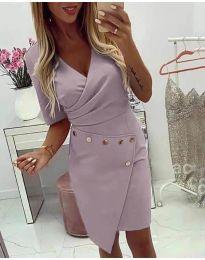 Ефектна рокля с капси в светло лилаво - код 415