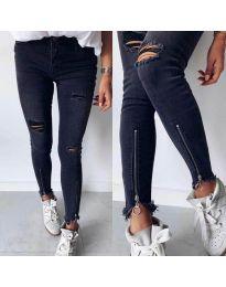 Дамски черни дънки с ципове на крачолите - код 3409
