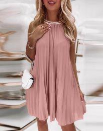 Дамска плисирана рокля в цвят пудра - код 0889