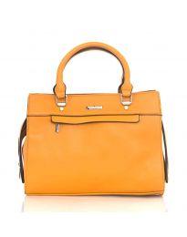 Дамска чанта в оранжево елегантен модел с къси и дълги дръжки - код NH2893