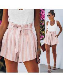 Къси панталонки  на райе в розово - код 9096